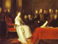 Queen Victoria's first meeting with the Privy Council, 1837. (Painting by Sir David Wilkie https://www.royalcollection.org.uk/collection/404710/the-first-council-of-queen-victoria)