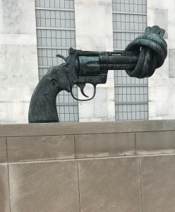 Non-Violence, bronze sculpture by Swedish artist Carl Fredrik Reuterswärd, at UN headquarters in NYC. (Photo by Madison Goodliffe)