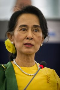 Aung San Suu Kyi (Photo by Claude TRUONG-NGOC, own work, CC BY-SA 3.0 (https://creativecommons.org/licenses/by-sa/3.0)], via Wikimedia Commons)