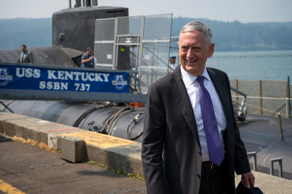 Defense Secretary Jim Mattis tours the Navy's Ohio-class ballistic-missile submarine USS Kentucky at Naval Base Kitsap, Bangor, Wash., Aug. 9, 2017. DoD photo by Air Force Staff Sgt. Jette Carr