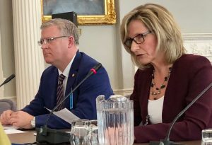 CBRM Mayor Cecil Clarke and CAO Marie Walsh at Law Amendments Committee, March 26. (Craig Paisley/CBC photo)