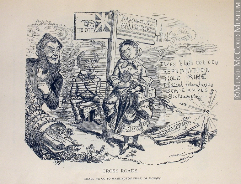 Cross Roads. Shall We Go to Washington First, or How(e)? 1868 Political cartoon by John Henry Walker. (Source: McCord Museum)