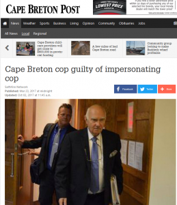 Cape Breton Post story on Lavin verdict. http://www.capebretonpost.com/news/local/cape-breton-cop-guilty-of-impersonating-cop-14369/