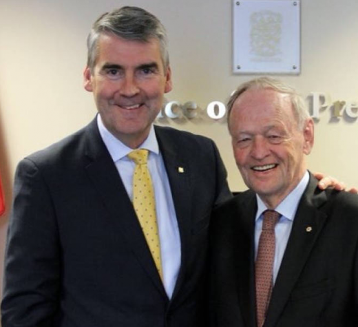 Nova Scotia Premier Stephen McNeil and Jean Chretien are shown on Wednesday, March 22, 2018. McNeil tweeted the photo, saying 'we enjoyed sharing stories about our political and personal journeys.' (Stephen McNeil/Twitter)