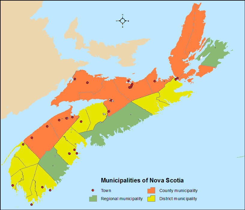 Nova Scotia municipalities. (By Hwy43 [CC BY 3.0 (https://creativecommons.org/licenses/by/3.0)], from Wikimedia Commons)