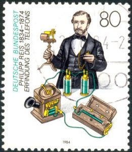German stamp featuring Philip Johann Reis with a later (but not particularly more practical) version of his telephone.