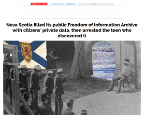 "Tech blog boingboing's story on Nova Scotia's data ""breach."" https://boingboing.net/2018/04/16/scapegoating-children.html"
