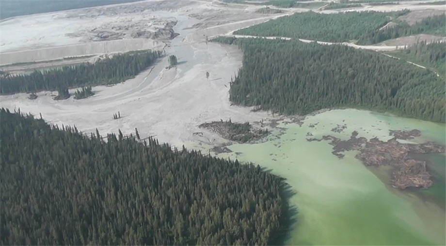 Disastrous tailings pond break at Imperial Metals' gold mine in British Columbia. (Photo courtesy Cariboo Regional District)