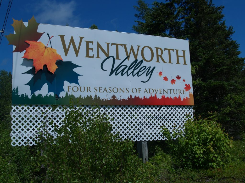 Wentworth Valley signboard. (Photo by Joan Baxter)