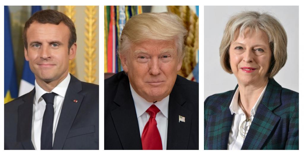 Emmanuel Macron, Donald Trump, Theresa May