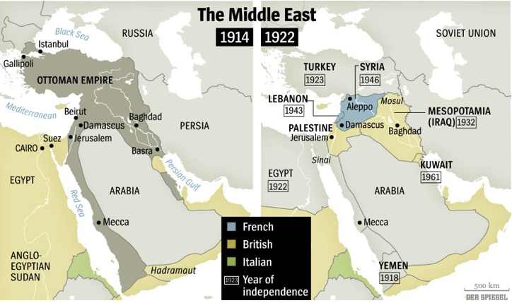 Pre and post war maps of Middle East. (Source: Der Spiegel)