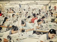 Garment workers at Korean-owned factory in Pyin Ma Bin Industrial Estate in Yangon, Myanmar. (Photo: Philip Heijmans -- cropped, filtered. Source: Myanmar Times https://www.mmtimes.com/business/9434-labour-shortages-plague-nascent-garment-sector.html)
