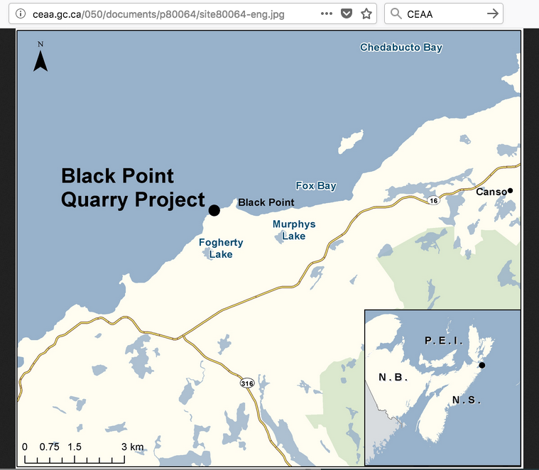 Map of quarry area. (Source: Black Point documents on CEAA website)