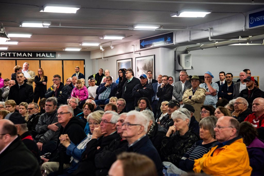 "Attendees to listen to announcement about CBRM healthcare ""redevelopment."" Joan Harriss Cruise Pavilion. 25 June 2018 (Photo by Charlie Morrison)"