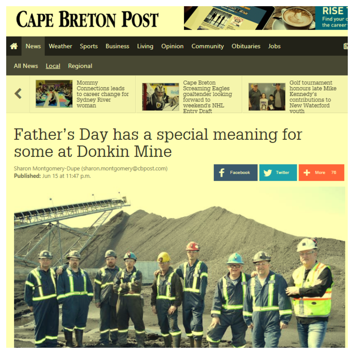 A Father's Day Gift to the Donkin Mine - The Cape Breton
