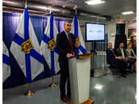 Premier Stephen McNeil announces planned changes to CBRM healthcare system. Joan Harriss Cruise Pavilion, Sydney, 25 June 2018. (Photo by Charlie Morrison)