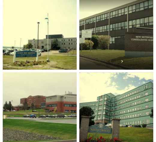 (Clockwise from upper left) Glace Bay Hospital, New Waterford Consolidated Hospital, Northside General Hospital, Cape Breton Regional Hospital
