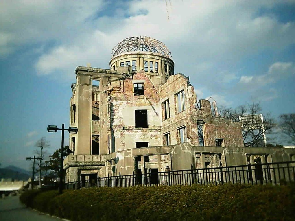 """Hiroshima Hiroshima Peace Memorial, also known as the Atomic Bomb Dome (""""Genbaku Dome""""). An exhibition hall, it was the only thing left standing in the area after the bomb.. (Photo by Kiyokun [GFDL (http://www.gnu.org/copyleft/fdl.html) or CC-BY-SA-3.0 (http://creativecommons.org/licenses/by-sa/3.0/)], from Wikimedia Commons"""