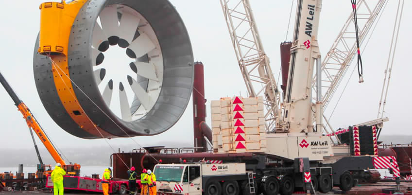 Cape Sharp turbine being mobilized. (Source: OpenHydro)