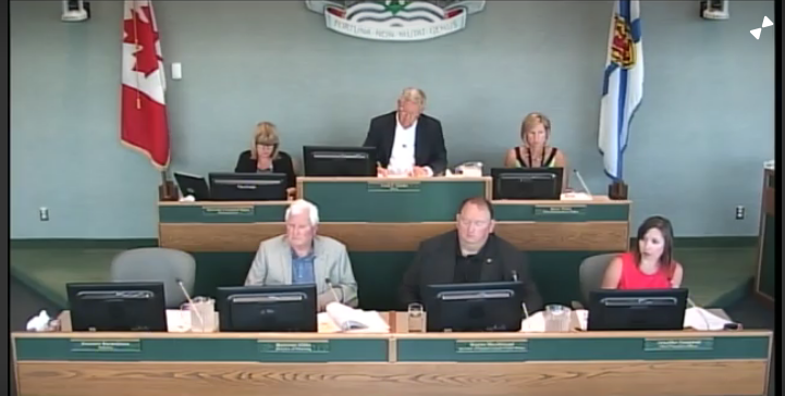CBRM Mayor Cecil Clarke and senior staff. Council meeting 7 August 2018 (Source: Council video)