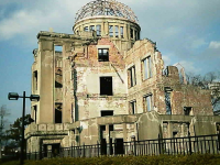 "Hiroshima Hiroshima Peace Memorial, also known as the Atomic Bomb Dome (""Genbaku Dome""). An exhibition hall, it was the only thing left standing in the area after the bomb.. (Photo by Kiyokun [GFDL (http://www.gnu.org/copyleft/fdl.html) or CC-BY-SA-3.0 (http://creativecommons.org/licenses/by-sa/3.0/)], from Wikimedia Commons"