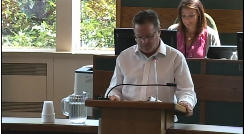 John Phalen presenting to CBRM Council, 7 August 2018. (Source: Council video)