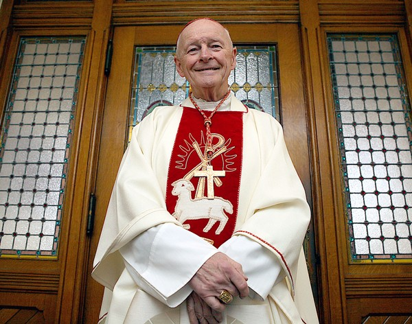 Cardinal Theodore McCarrick, the former Archbishop of Newark, visiting a Bayonne church in 2008. (Source: Jersey Journal)