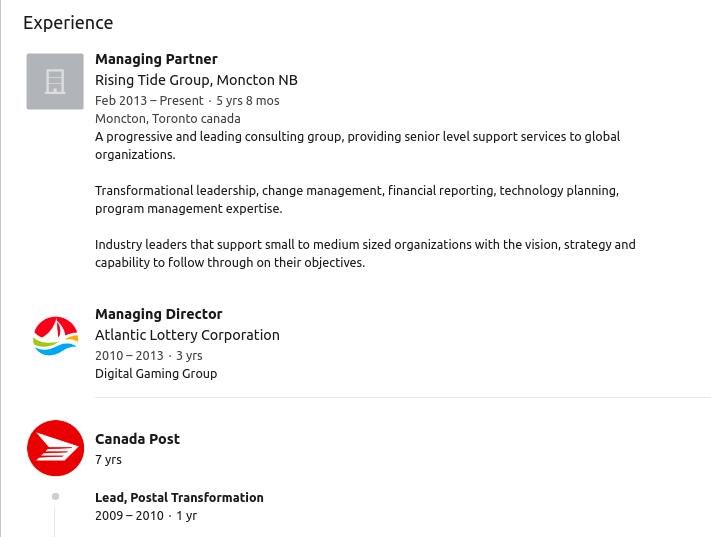 Jim Gilbert LinkedIn CV