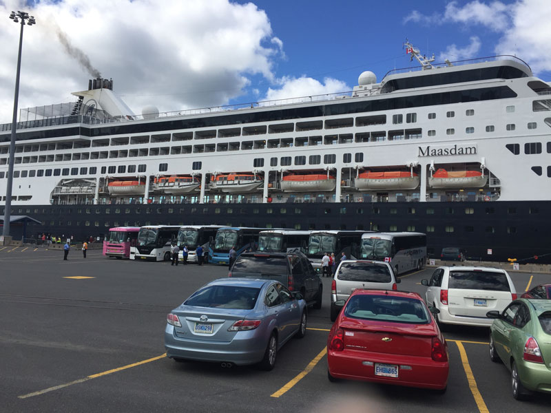 Tour buses lined up to take cruise passengers on shore excursions. Source: Commissionaires website https://www.commissionaires.ca/en/blog/commissionaire-makes-couple-tourists-day-port-sydney