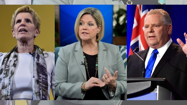 Kathleen Wynne, Andrea Horvath, Doug Ford (Source: CTV Toronto)
