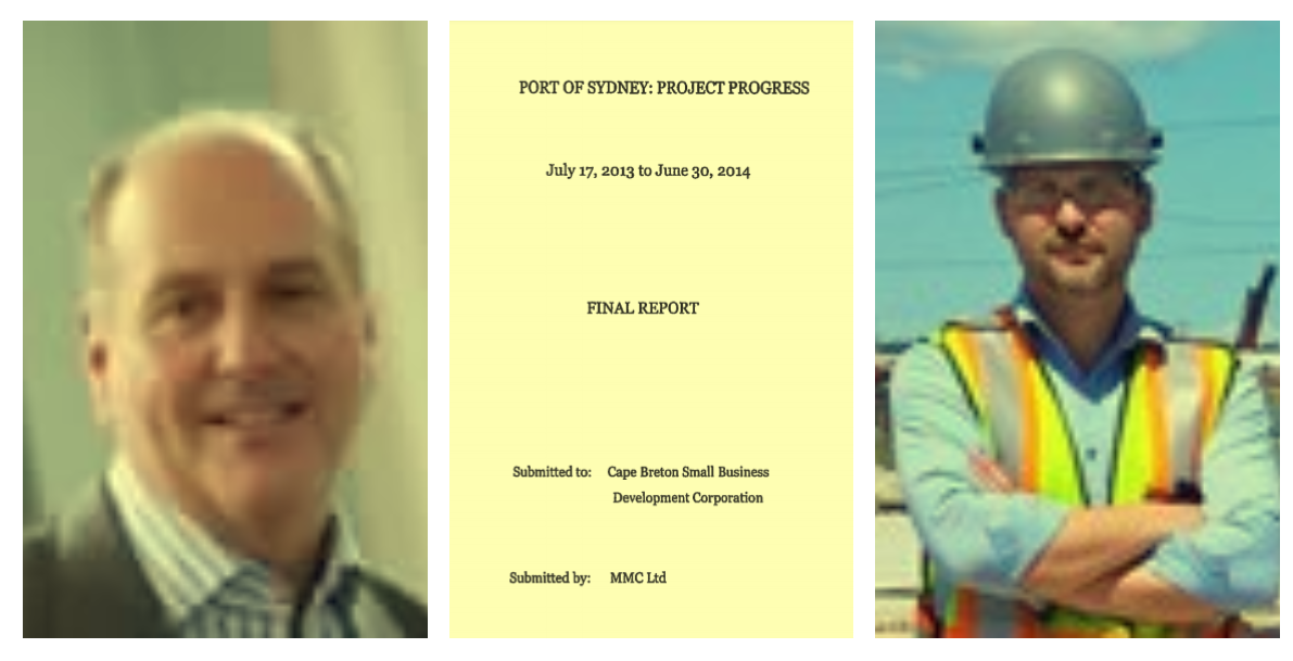 Left to right: Jim Gogan of Breton Law, cover of Neil MacNeil's port report, Mike Moore of Heddle Marine.