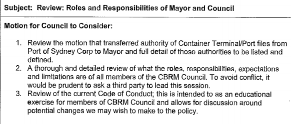 Excerpt from agenda of CBRM Council General Committee Meeting, 4 September 2018