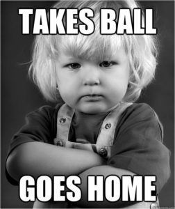 Boy with text: Takes Ball, Goes Home. (Source: Tresnic Media https://tresnicmedia.com/4-calls-to-action-copywriting-sins-you-need-to-avoid/)