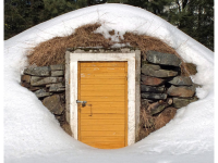 Old root cellar at Törnävä outdoor museum, Seinäjoki, Finland, March 2013. (Photo by Kotivalo CC BY-SA 3.0  https://creativecommons.org/licenses/by-sa/3.0, from Wikimedia Commons)