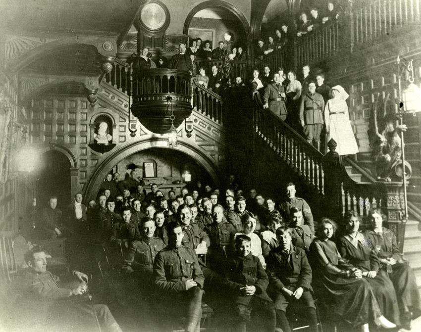 Interior of Moxham Castle, Sydney, NS, which served as a hospital during WWI. (Source: Beaton Institute)