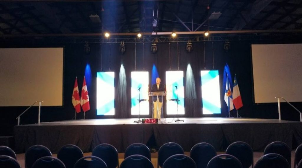 Cecil Clarke on Friday before the festivities began at the PC Leadership Convention. (Source: Facebook)