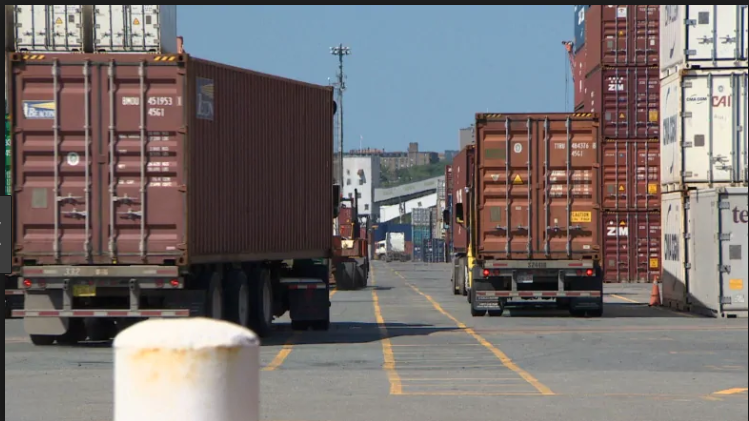 Container trucks, Port of Halifax (CBC Photo)