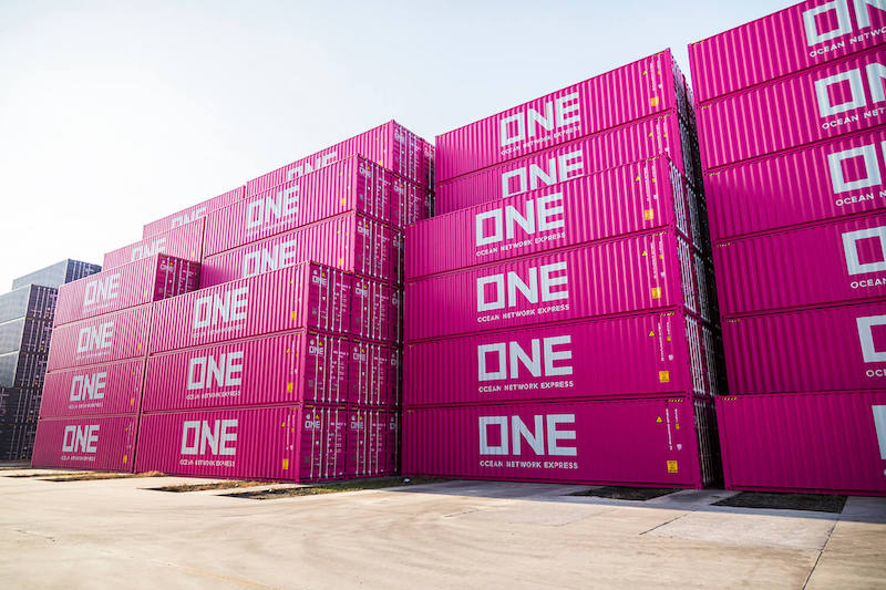 ONE pink shipping containers. Photo by Mike Schuler via gCaptain (https://gcaptain.com/)