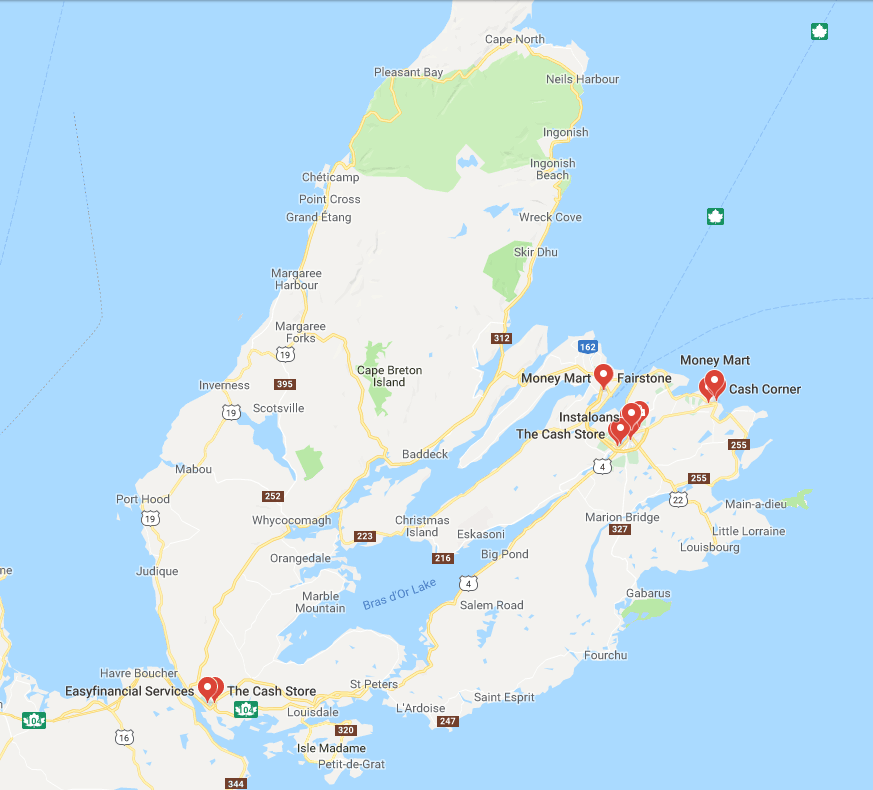Payday lenders on Cape Breton Island. (Source: Google maps)