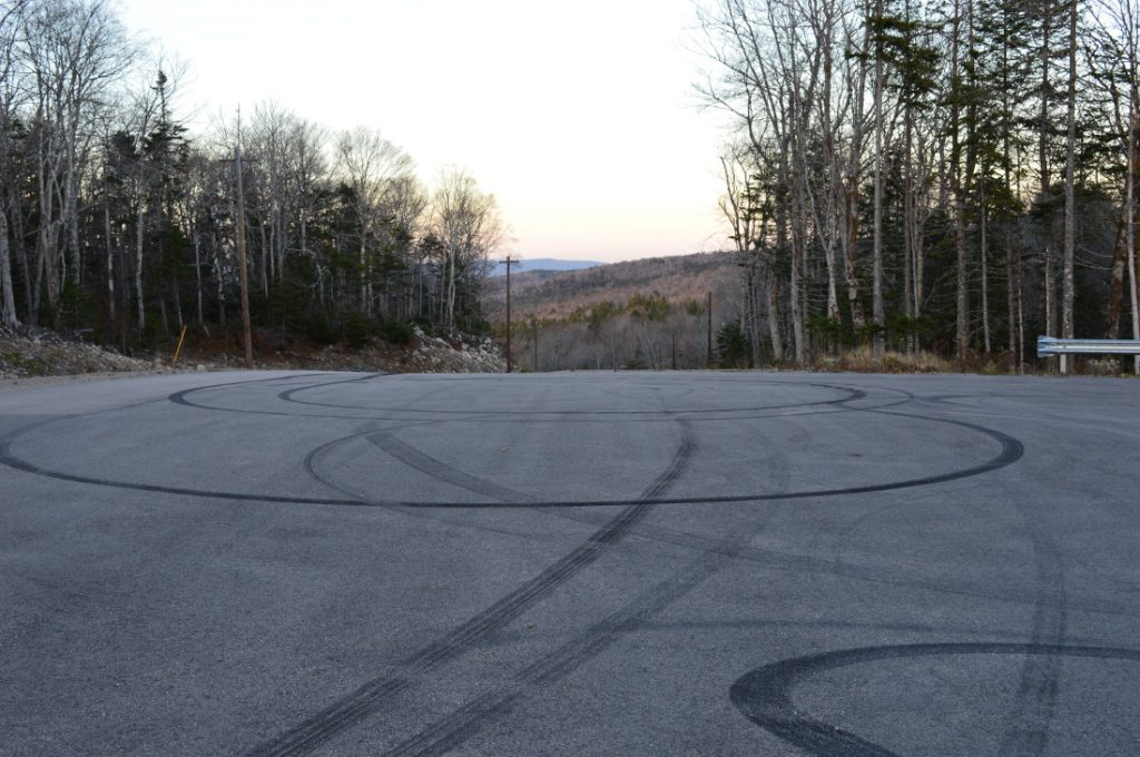 Top of the hill, Aerie Estates. The Spectator took the photo but did not burn the rubber.