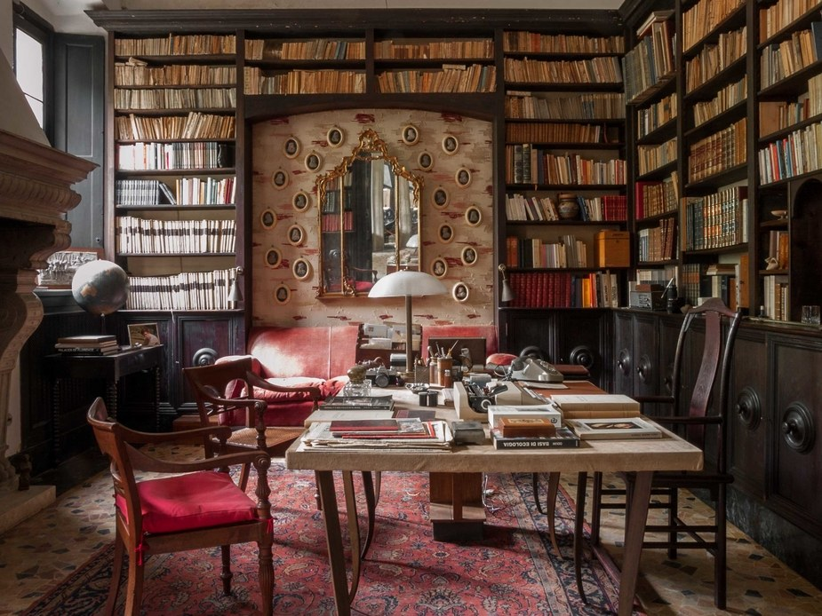 Not the author's office. (Actually, the professor's study from the film Call Me by Your Name) The Italian villa where it was filmed is for sale. http://www.houseloft.com/immobili/vendita-villa-lombardia/610/una-residenza-da-oscar-villa-storica-del-xvi-secolo.html