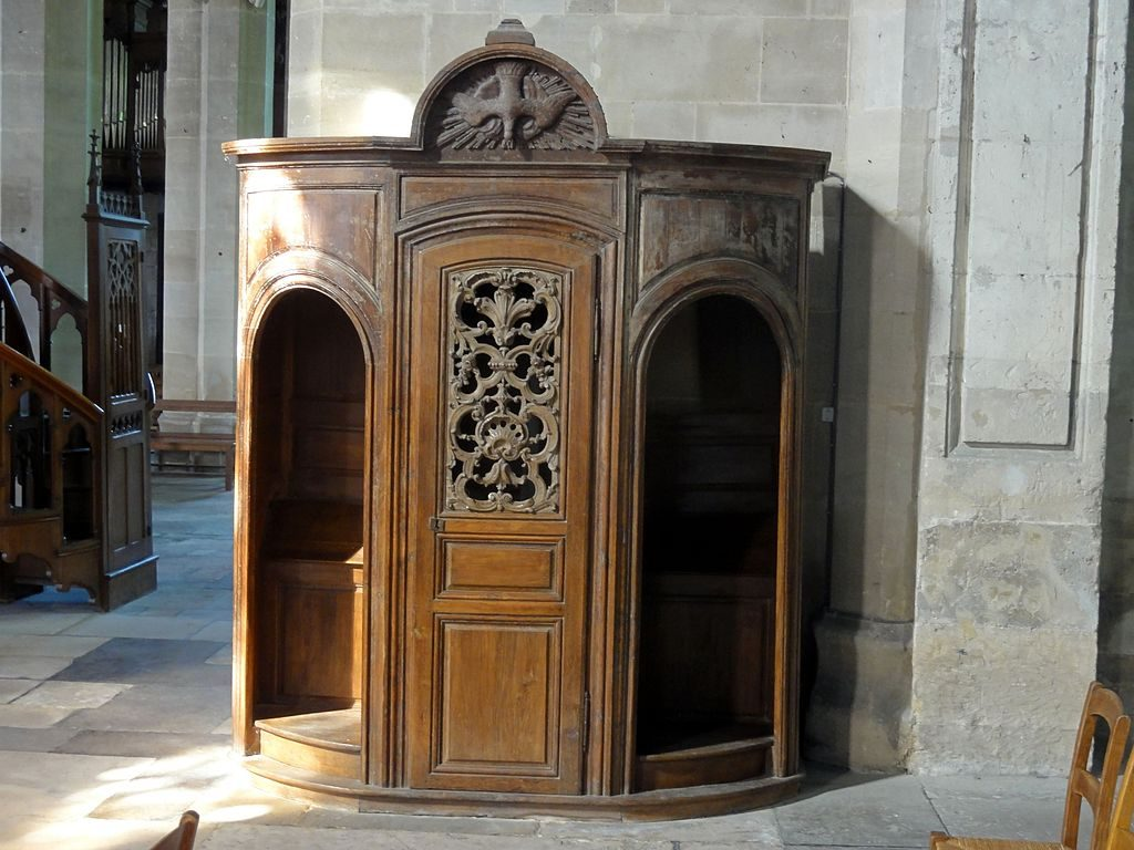 Confessional in Our Lady of the Nativity Church, Magny-en-Vexin, France. (Photo by P.poschadel [GFDL (http://www.gnu.org/copyleft/fdl.html) or CC BY-SA 3.0 (https://creativecommons.org/licenses/by-sa/3.0)], from Wikimedia Commons)