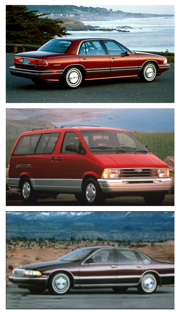 What did they drive in '95? Who knows? But here's some guesses. Top: 1995 Buick Le Sabre. Middle: 1995 Ford Aerostar Minivan. Bottom: 1995 Chevy Caprice Classic