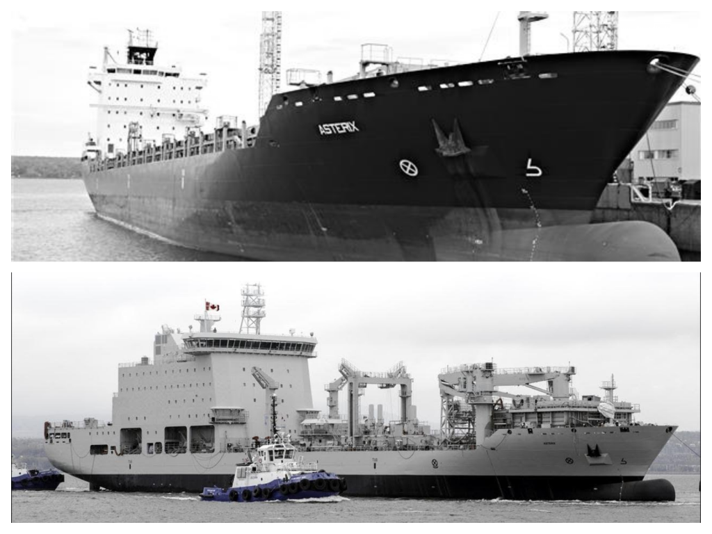 Top: MS Asterix container ship, pre-conversion. Bottom: MS Asterix naval replenishment ship, post-conversion.