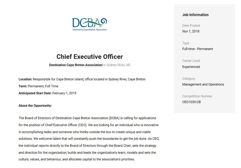 DCBA CEO job posting