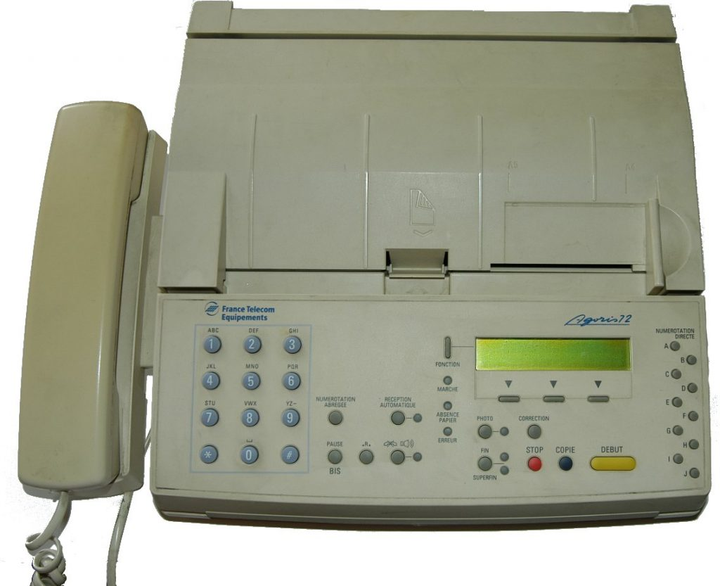 Fax machine. (CC by SA 1.0 https://creativecommons.org/licenses/by-sa/1.0/deed.en via Wikimedia Commons)