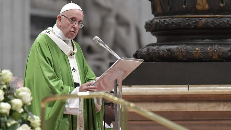 Pope Francis preaches the homily during the final Mass of the Synod on Youth (Vatican Media)
