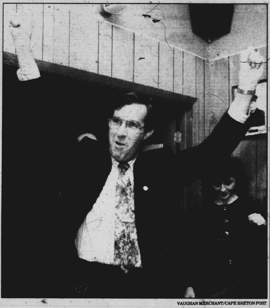 John Coady, election night 1995. (Vaughan Merchant photo, Cape Breton Post)