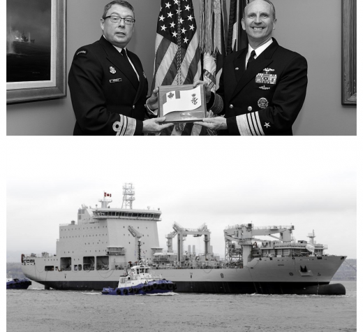 Top (Chief of Naval Operations (CNO) Adm. Jonathan Greenert welcomes Commander of the Royal Canadian Navy Vice Adm. Mark Norman for an office call at the Pentagon. (U.S. Navy Photo by Chief Mass Communication Specialist Julianne F. Metzger/Released) Bottom: Bottom: MS Asterix naval replenishment ship, post-conversion.