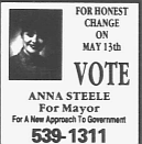 Mayoral election advertisement. Cape Breton Post, May 1995